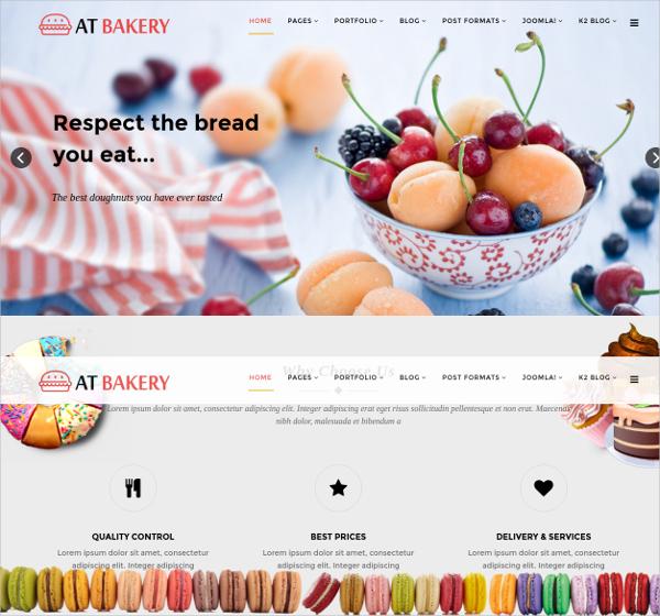 responsive cake bread joomla website template