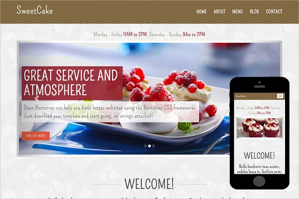 free cakes bootstrap website theme