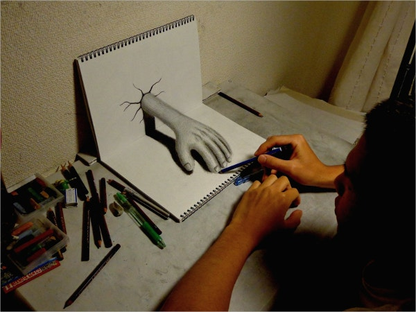 3d drawing hand