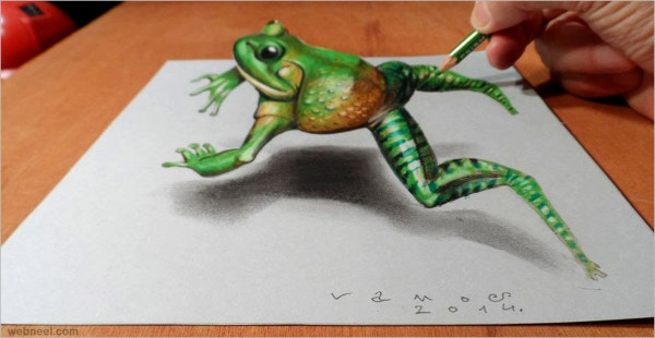 3D Green Frog Art