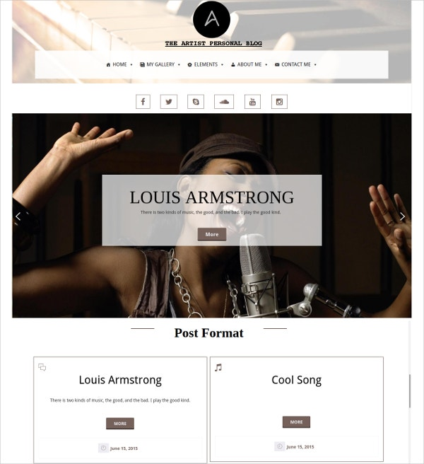 music artist portfolio blog wordpress website theme 19