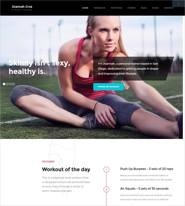 Fitness & Personal Trainer WordPress Website Theme $49