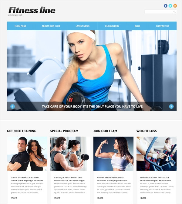 Fitness Club Joomla Website Template $75