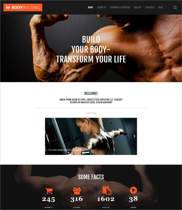 Fitness & Body Build WordPress Website Theme $75