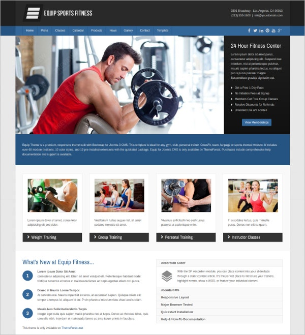 Fitness & Sports Website Theme $48