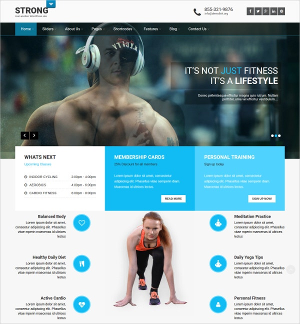 responsive fitness wordpress website theme