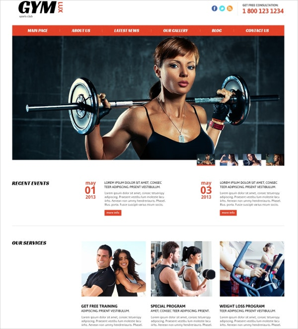Gym & Fitness Joomla Website Template $75