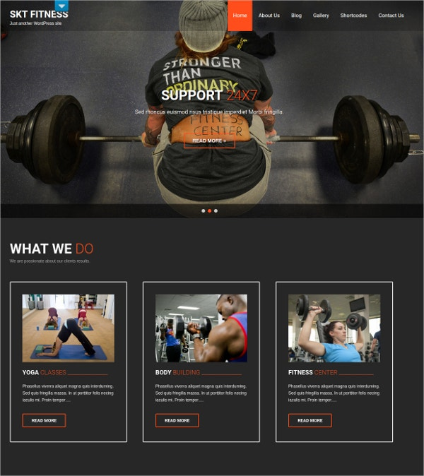 fitness centers wordpress website theme