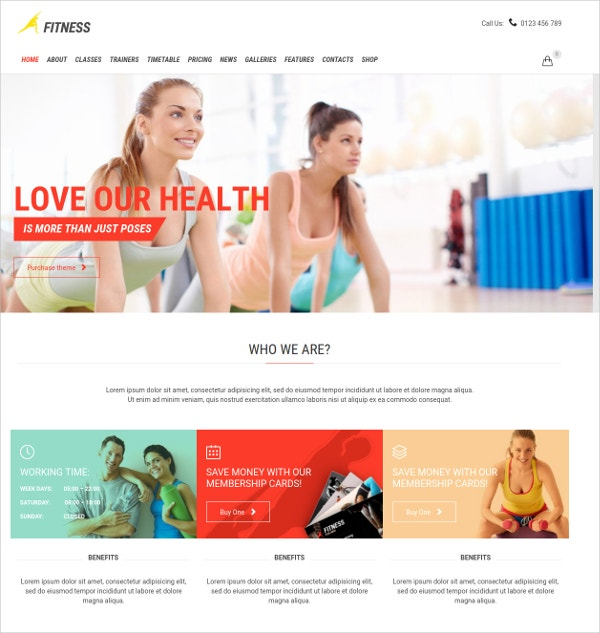 Fitness Centers WP Website Theme $59