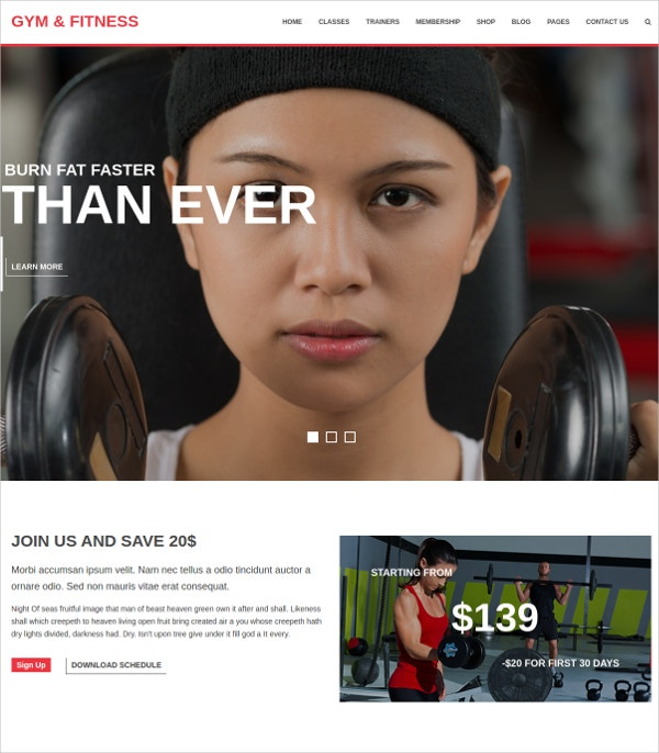 Yoga, Gym & Fitness WP Website Theme
