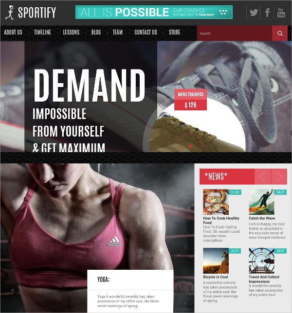 Fitness Center Blog WP Website Theme $48