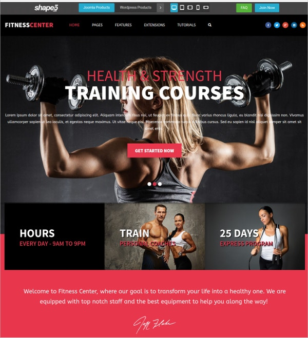gym personal training joomla website theme