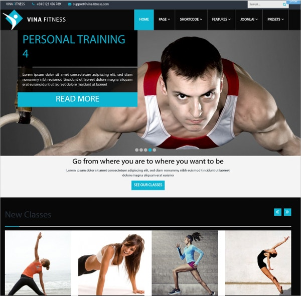 Responsive Health Clubs & Fitness Joomla Website Template