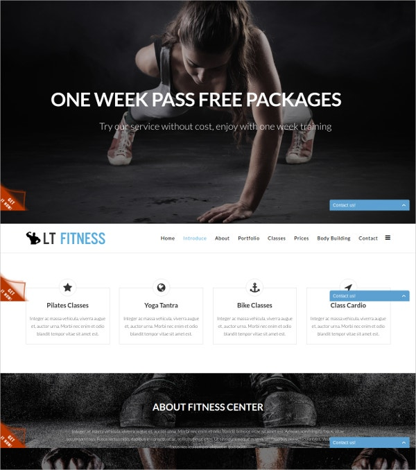 free one page fitness joomla template