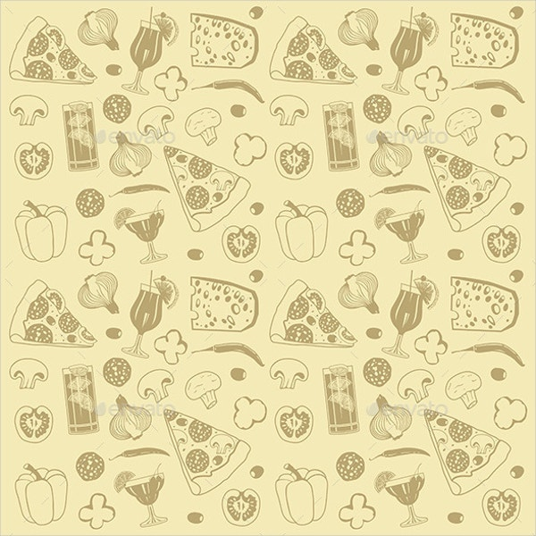 Cartoon Pizza Pattern