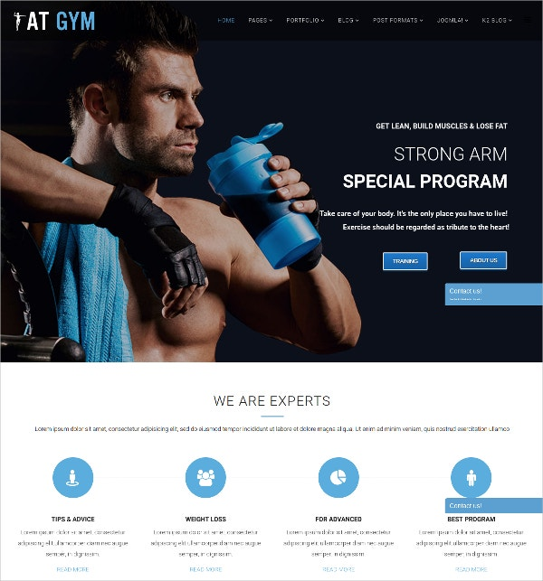body building fitness joomla website theme