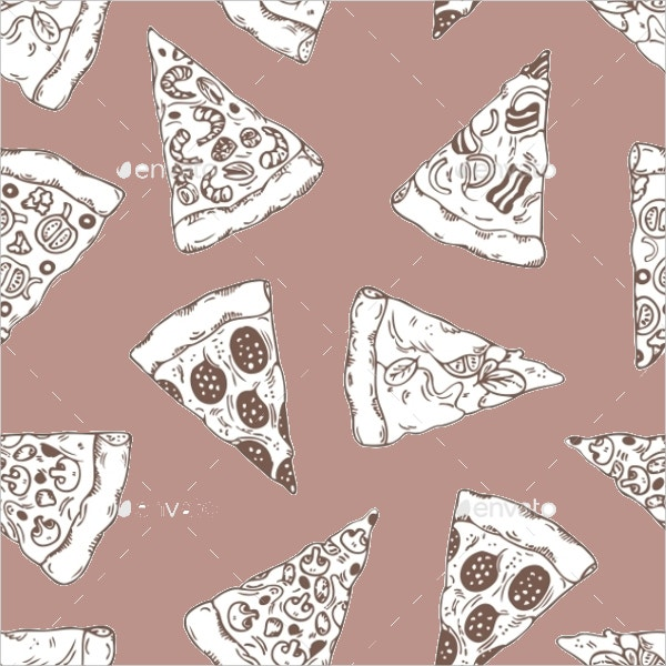 hand drawn pizza slice pattern