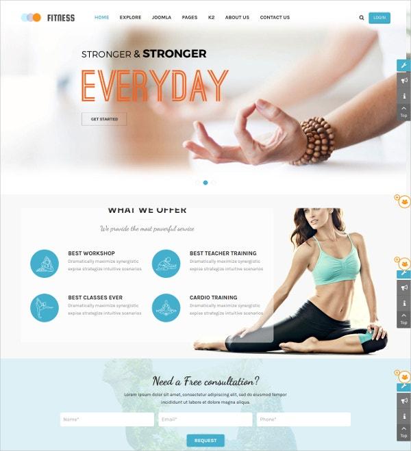 responsive joomla yoga center fitness website template