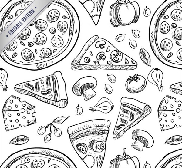 Pizza Drawings Pattern