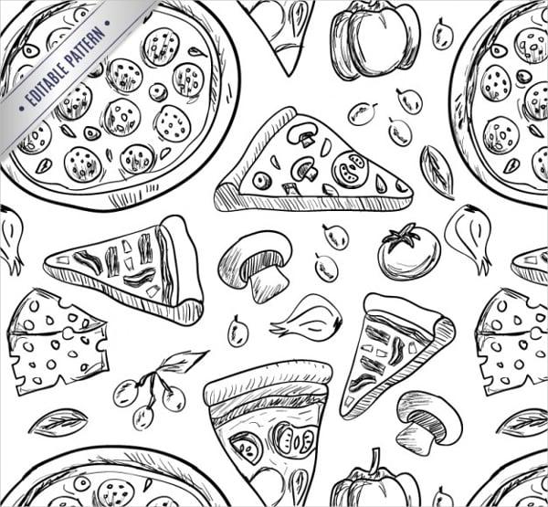 pizza drawings pattern