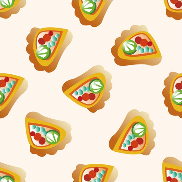Seamless Cartoon Pizza Pattern