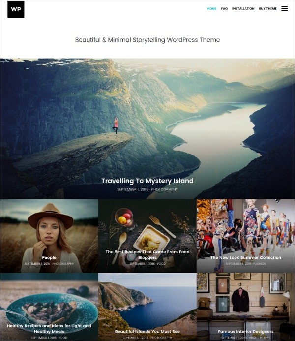 Minimal Travel & Portfolio WordPress Theme $29