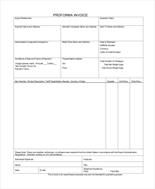 export proforma invoice template