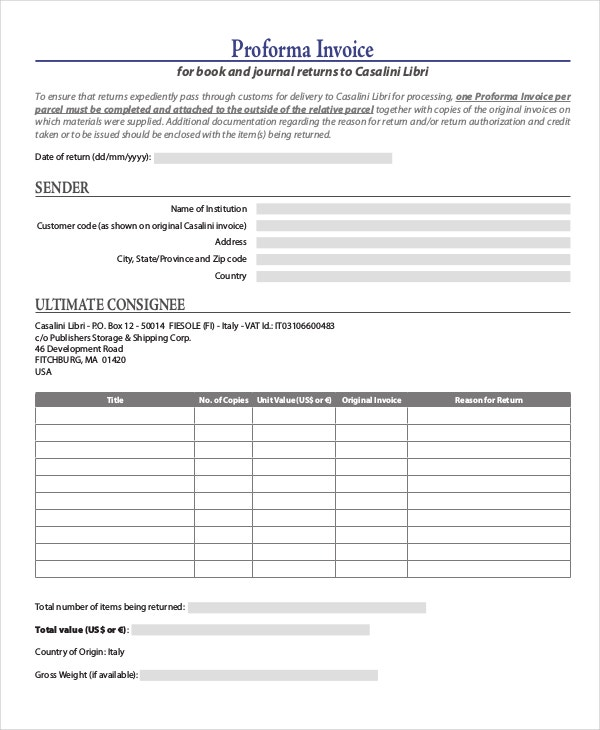 pro forma document examples
