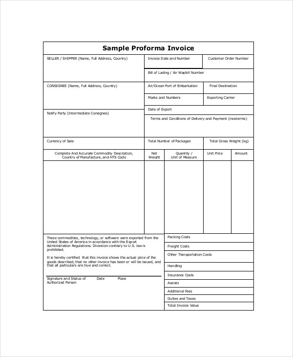 Proforma Invoice   Free Word Excel Pdf Documents Download