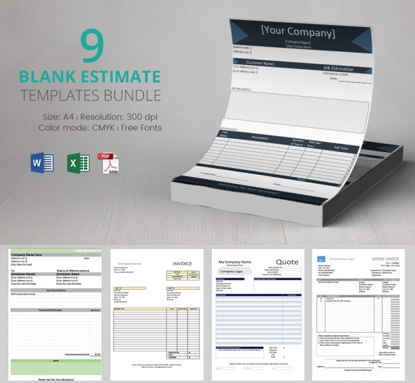 Freebie of the Day - Blank Estimate Templates