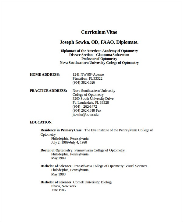 Optometrist Resume Template 7 Free Word Pdf Documents