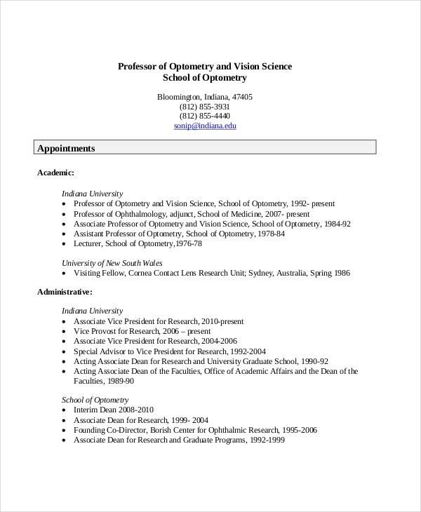 Optometrist Resume Template   Free Word Pdf Documents Download