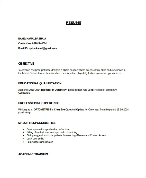 entry level optometrist resume templates