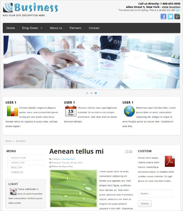 free simple business joomla theme
