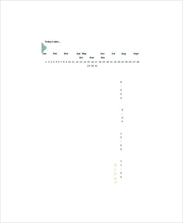 sample best blank daily schedule planner