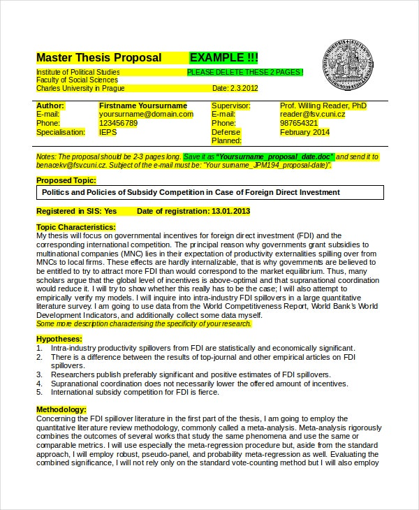 master thesis proposal template