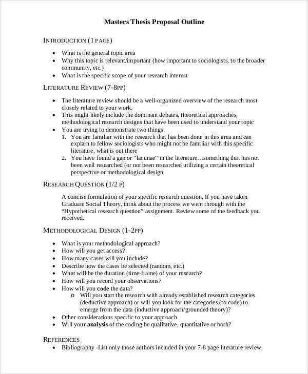 Thesis Proposal Template   Free Word Pdf Document Downloads