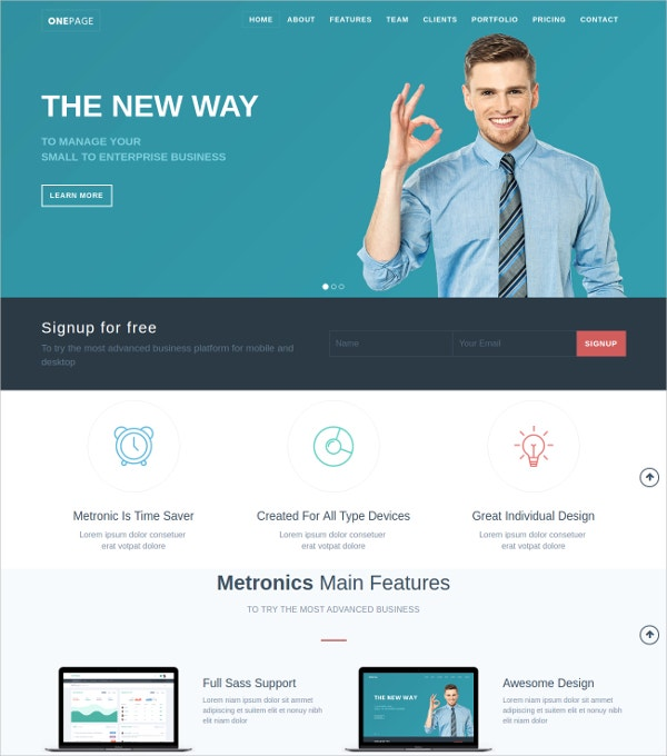free one page bootstrap template to download