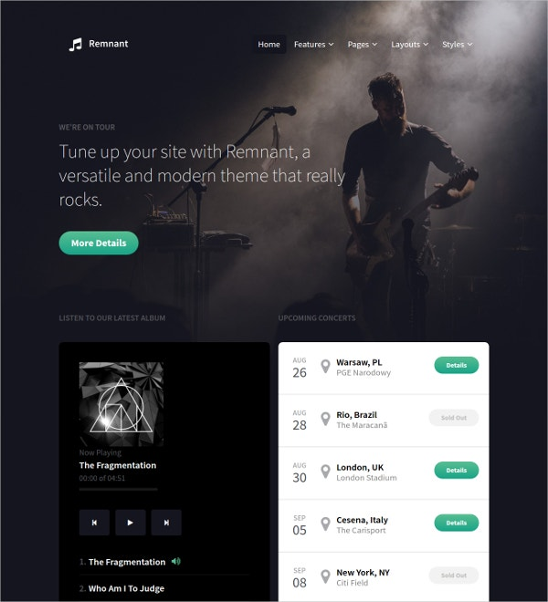 free music band joomla template