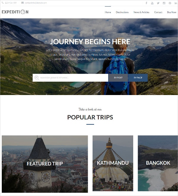 Free Tourism, Hotel & Resorts WP Template