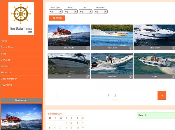 Free Boat Dealer Business WordPress Theme