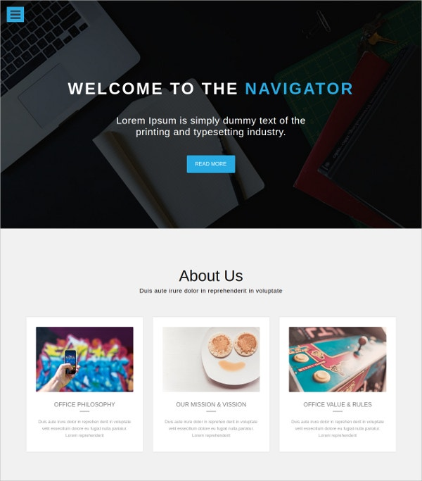 one page portfolio bootstrap website template