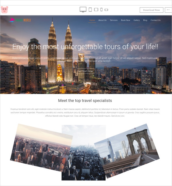 free travel world html5 template