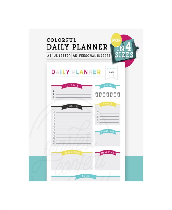 Sample Colorful Cute Daily Planner