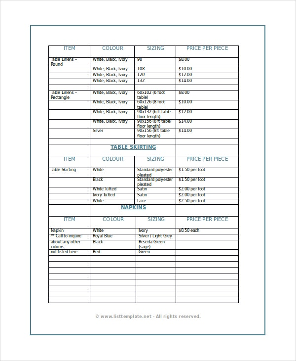 Product List Template   Free Word Pdf Document Downloads
