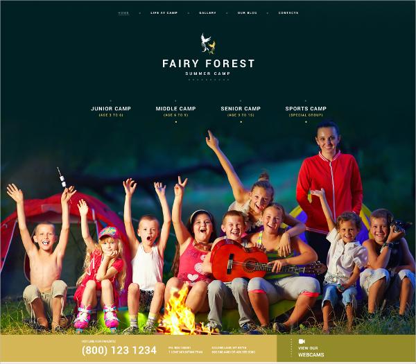 kids summer forest camp wordpress theme