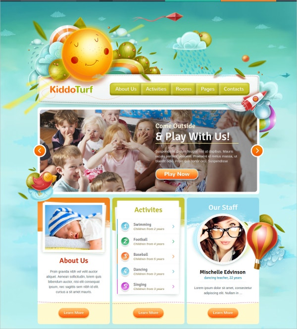 kids kindergarten wordpress theme