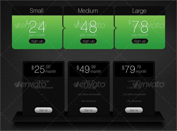 5 Pricing Tables Designs