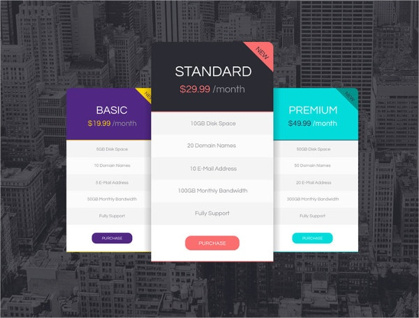 Vector Pricing Tables Design in 3 Colors – Freebie