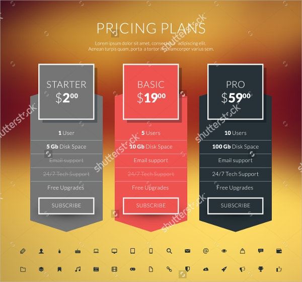 Pricing Table in Flat Design